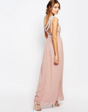 photo Multi Row Embellished Maxi Dress by TFNC Tall, color Mauve - Image 2