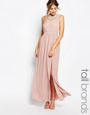 photo Multi Row Embellished Maxi Dress by TFNC Tall, color Mauve - Image 1