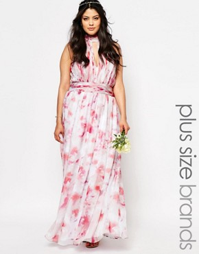 photo River Printed Maxi Dress by Fame and Partners Plus, color Multi - Image 1