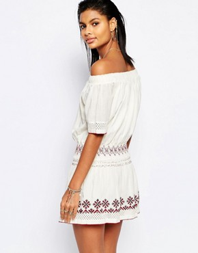 photo Marietta Off Shoulder Embroidered Dress by Tularosa, color Ivory - Image 2
