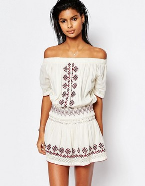 photo Marietta Off Shoulder Embroidered Dress by Tularosa, color Ivory - Image 1