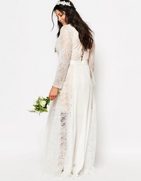 photo Lace Heaven Maxi Dress with Split by Fame and Partners Plus, color White - Image 2