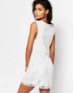 photo Vesta Lace Dress with Pom Pom Trim by Tularosa, color Chalk - Image 2