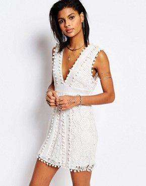 photo Vesta Lace Dress with Pom Pom Trim by Tularosa, color Chalk - Image 1