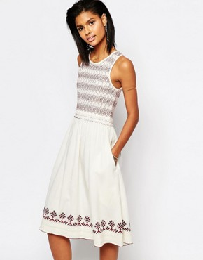photo Tamarack Embroidered Midi Dress by Tularosa, color Ivory - Image 1