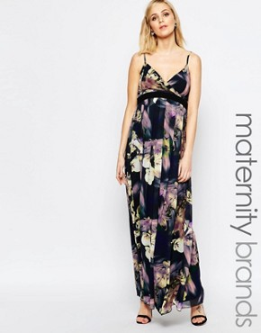 photo Bold Floral Print Cami Maxi Dress by Little Mistress Maternity, color Multi - Image 1