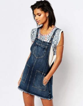 photo Sophia Denim Overall Dress by Tularosa, color Laguna - Image 1