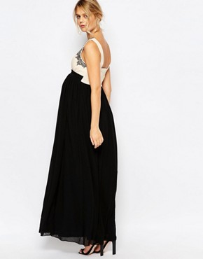 photo Maxi Dress with Embellished Bodice by Little Mistress Maternity, color Black - Image 2