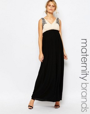photo Maxi Dress with Embellished Bodice by Little Mistress Maternity, color Black - Image 1