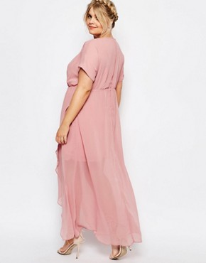photo Wrap Maxi Dress with Ruffle Detail by Truly You, color Pink - Image 2