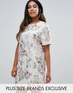 photo Floral Jacquard Short Sleeve Shift Dress by Truly You, color Multi - Image 1