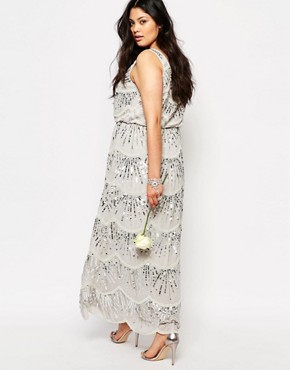photo Sleeveless Chiffon Maxi Dress with All Over Embellishment by Lovedrobe Luxe, color Grey - Image 2