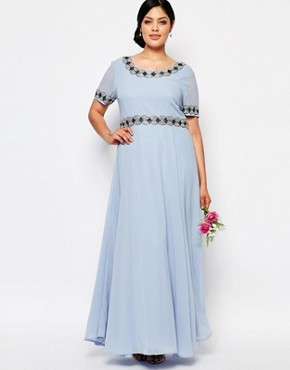 photo Deep Back Maxi Dress with Full Skirt and Embellishment by Lovedrobe Luxe, color Blue - Image 2