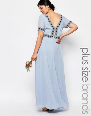 photo Deep Back Maxi Dress with Full Skirt and Embellishment by Lovedrobe Luxe, color Blue - Image 1