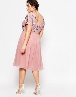 photo Embellished Prom Skater Dress with Plunge Back by Lovedrobe Luxe, color Pink - Image 2