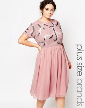 photo Embellished Prom Skater Dress with Plunge Back by Lovedrobe Luxe, color Pink - Image 1