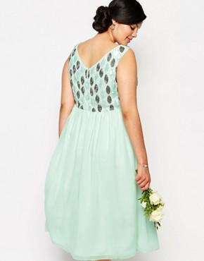 photo Embellished Bodice Midi Prom Dress by Lovedrobe Luxe, color Green - Image 2