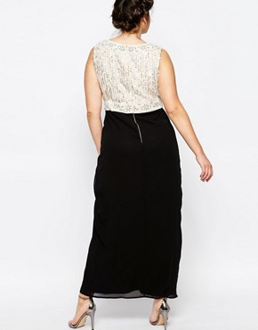 photo Plunge Front Embellished Maxi Dress with Wrap Skirt by Lovedrobe Luxe, color Black - Image 2