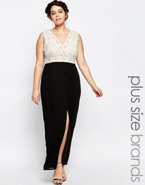 photo Plunge Front Embellished Maxi Dress with Wrap Skirt by Lovedrobe Luxe, color Black - Image 1