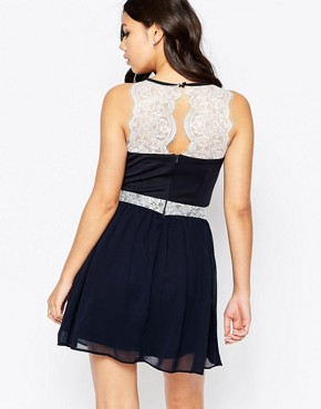 photo Candyce Lace Panel and Chiffon Skater Dress by Girl in Mind, color Navy - Image 2