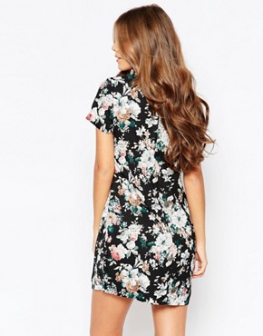 photo Wilona Dress with Collar in Floral Print by Poppy Lux, color Black/Multi - Image 2