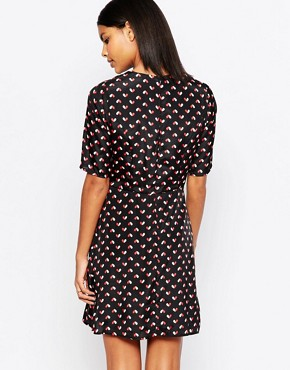 photo Vivianna Dress in Heart Print by Poppy Lux, color Black/Red/White - Image 2