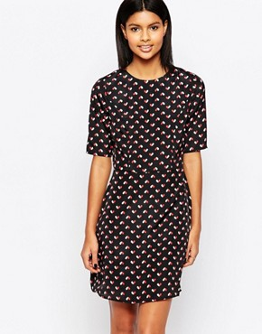photo Vivianna Dress in Heart Print by Poppy Lux, color Black/Red/White - Image 1