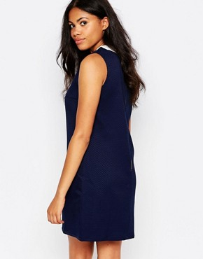 photo Chloe Collar Jacquard Dress by Sugarhill Boutique, color Navy - Image 2