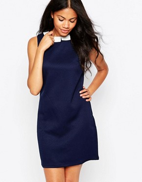 photo Chloe Collar Jacquard Dress by Sugarhill Boutique, color Navy - Image 1