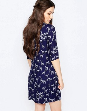 photo Amelia Stag Print Tunic Dress by Sugarhill Boutique, color Navy - Image 2