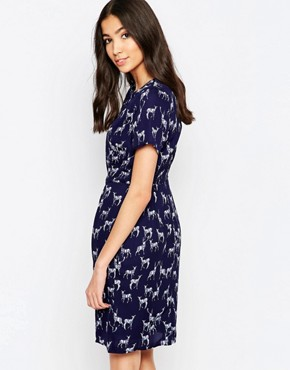 photo Julie Stag Print Shift Dress by Sugarhill Boutique, color Navy - Image 2