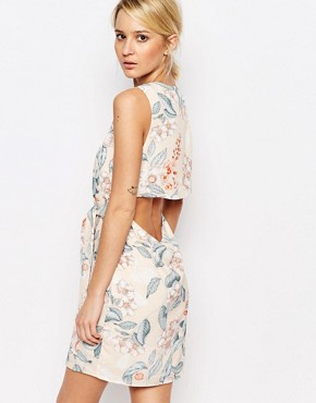 photo Shift Dress with Cut Out Back Detail in Floral by Neon Rose, color Multi - Image 2