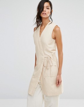 photo Sleeveless Dress with Wrap Front by Neon Rose, color Beige - Image 1
