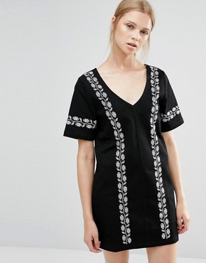 photo V Neck Dress with Embroidery by Neon Rose, color Black - Image 1
