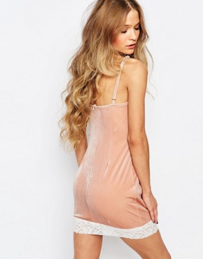 photo Mini Luxury Cami Dress with Lace Detail by ebonie n ivory, color Pink - Image 2