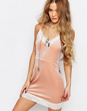 photo Mini Luxury Cami Dress with Lace Detail by ebonie n ivory, color Pink - Image 1