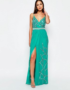 photo Michelle Maxi Dress with Split by Virgos Lounge, color Blue - Image 1