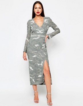 photo Keely Midi Dress with Split by Virgos Lounge, color Grey - Image 1