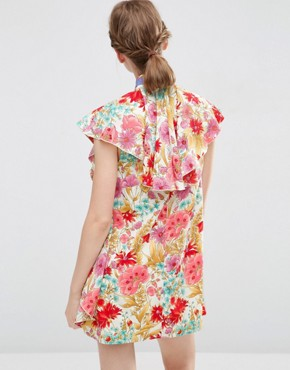 photo Floral Ruffle Mini Shift Dress with Neck Tie by ASOS, color Multi - Image 2