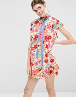 photo Floral Ruffle Mini Shift Dress with Neck Tie by ASOS, color Multi - Image 1