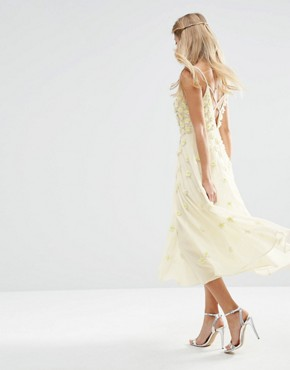 photo 3D Floral Scattered Cami Midi Dress by ASOS BRIDAL, color White - Image 2