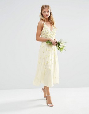 photo 3D Floral Scattered Cami Midi Dress by ASOS BRIDAL, color White - Image 1