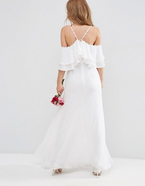photo Cold Shoulder Button Ruffle Maxi Dress by ASOS BRIDAL, color White - Image 2