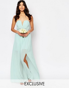 photo Pleated Embellished Waist Maxi Dress by TFNC WEDDING, color Morning Mist - Image 1