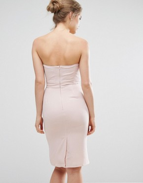 photo Midi Pencil Dress with Frill Detail by Elise Ryan, color Nude - Image 2