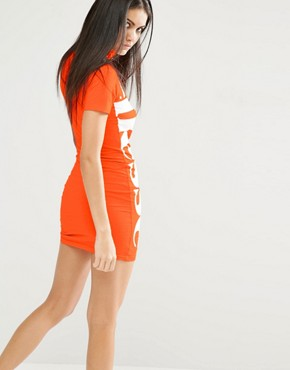 photo High Neck Bodycon Dress with Side Logo by Ellesse, color Orange - Image 2