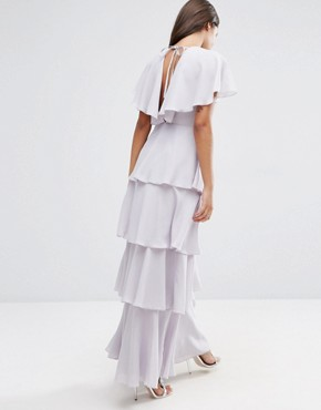 photo Cape Layered Ruffle Front Maxi Dress by ASOS, color Soft Grey - Image 2