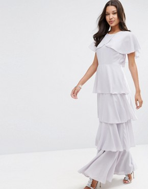 photo Cape Layered Ruffle Front Maxi Dress by ASOS, color Soft Grey - Image 1