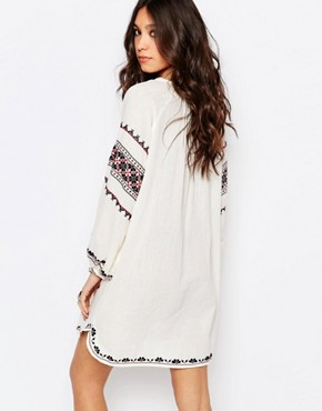 photo Mayra Embroidered Dress in Cream by Star Mela, color Ecru/Black - Image 2