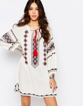 photo Mayra Embroidered Dress in Cream by Star Mela, color Ecru/Black - Image 1